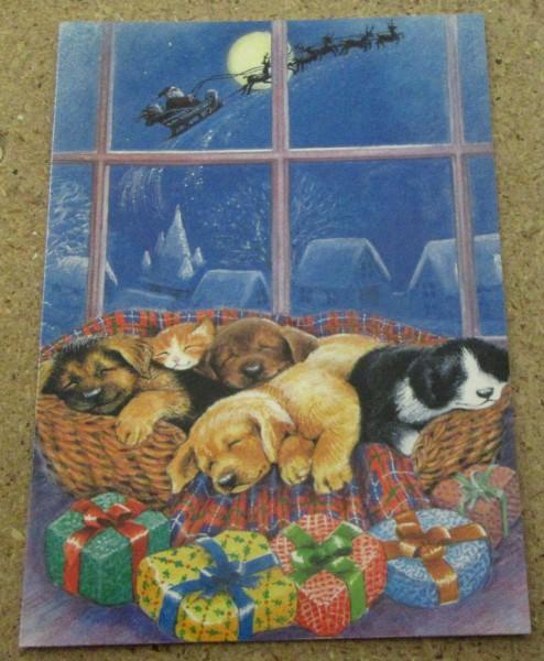 Klappkarte mit Hunde Motiv Weihnachten