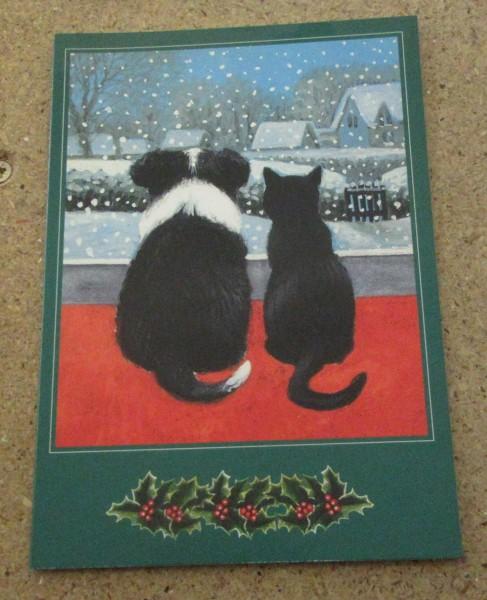 Klappkarte mit Motiv Hund und Katze Weihnachten