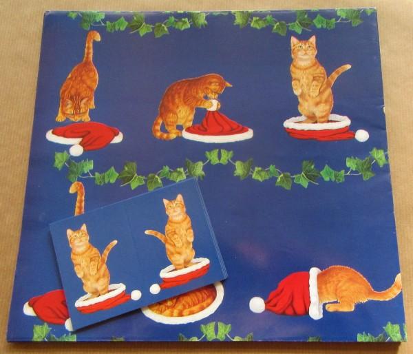 """Geschenkpapier """"Katzen mit Weihnachtsmütze"""""""