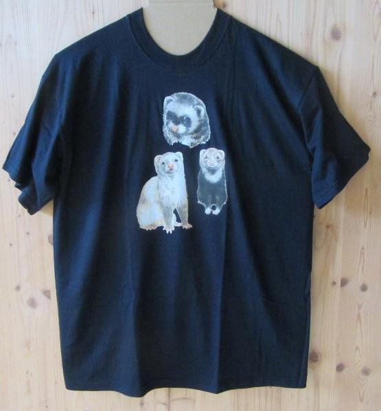 """T-Shirt mit Motiv """"Frettchen"""" - Schwarz"""