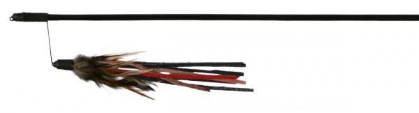 Spielangel mit Lederbändchen und Federn - 50 cm